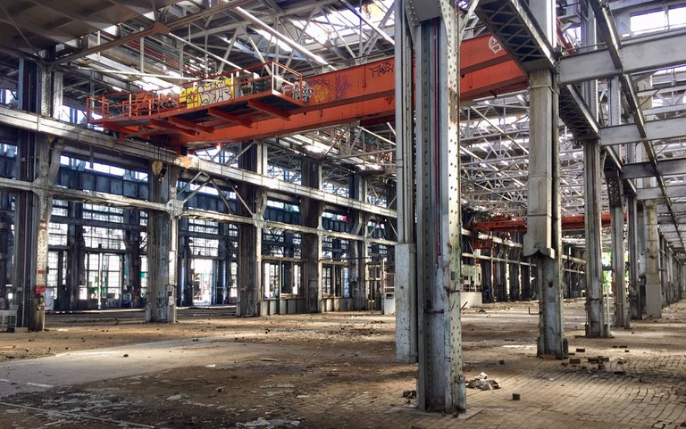 An internal view of a building at the railyards.