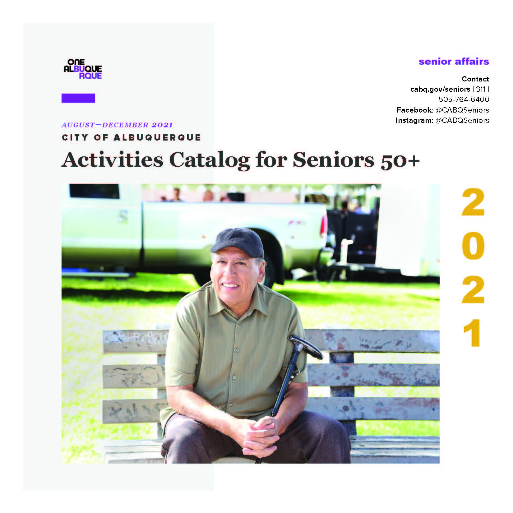 The cover of the 2021Aug-Dec Department of Senior Affairs Activities Catalog.