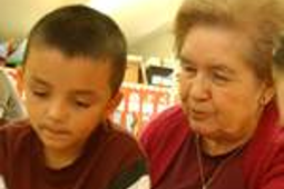 grandson with grandma