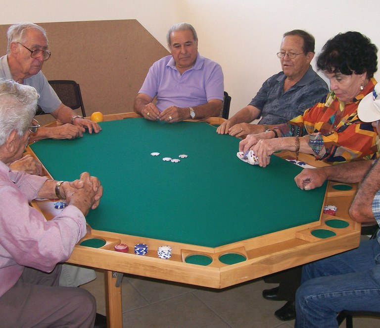 Group of Seniors playing Poker