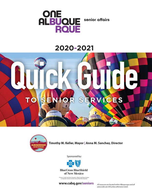 Cover of the Quick Guide to Senior Services for 2021 edited.