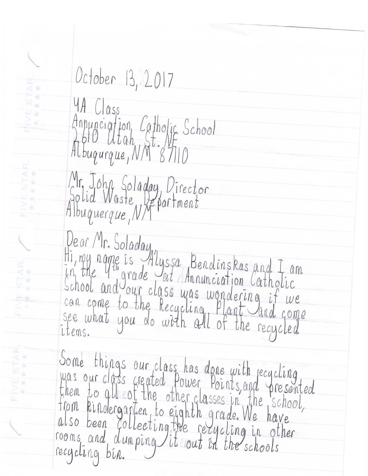 Letter from Annunciation Catholic School to Solid Waste Director John Soladay