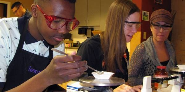 Teenagers participating in a science project.