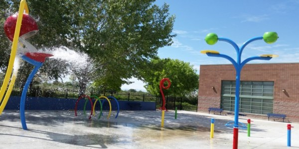 An image of the Cesear Chavez Splash Pad cropped for the summer fun page.