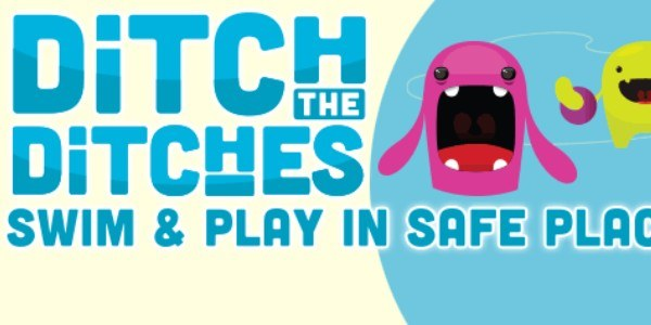 Graphic: Ditch the Ditches- Swim & Play in Safe Places graphic featuring a purple and orange cartoon monsters.