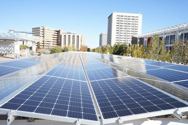 View of top of solar panels on Civic Plaza