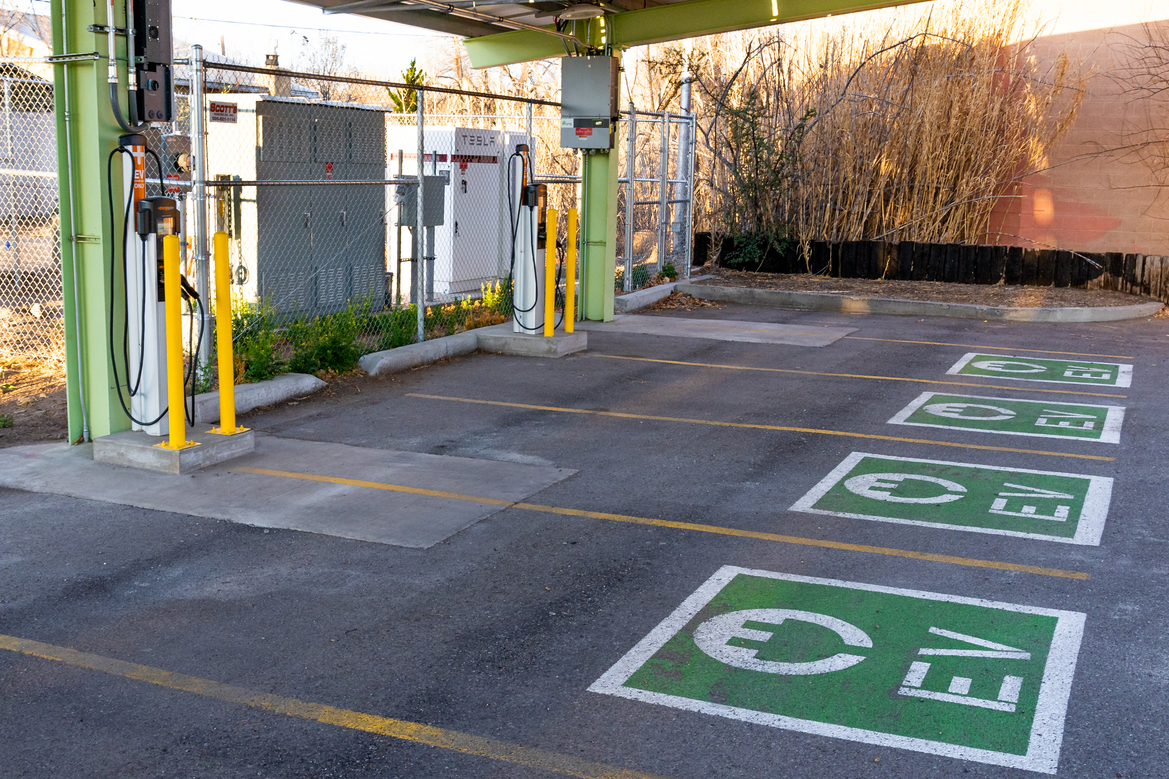 A photo of an electric vehicle charging station at the BioPark.