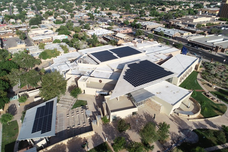 Solar panels on top of Albuquerque Museum, as seen from a drone.