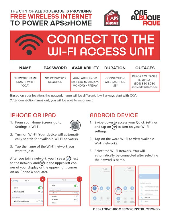 A JPG of WiFi Connect Information Flyer pg 1.