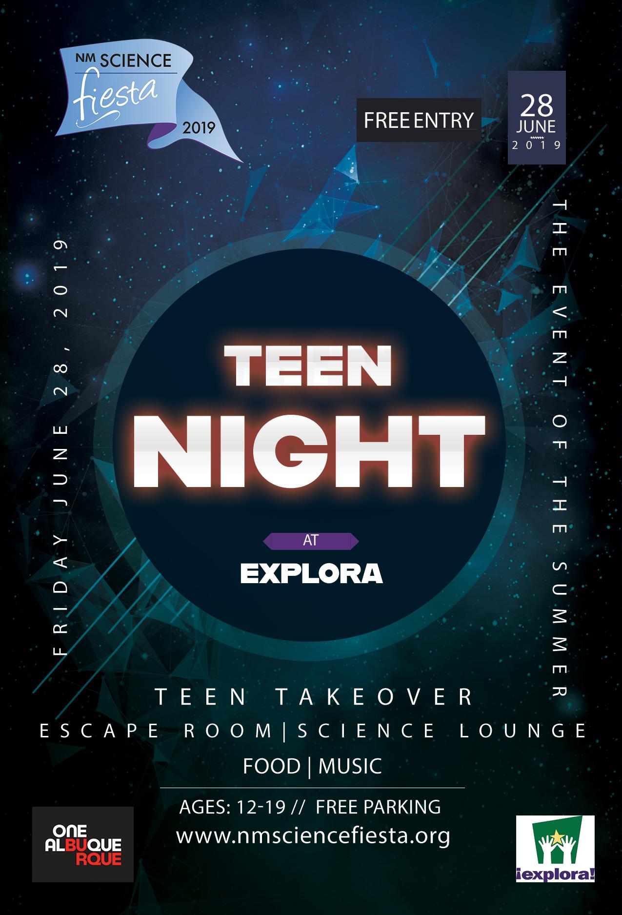 A JPEG of Teen Night 2019 Explora Flyer.
