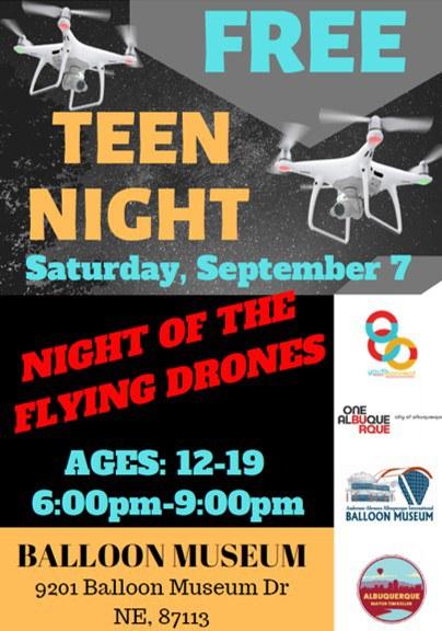 Teen Night 2019 Night of the Flying Drones Flier