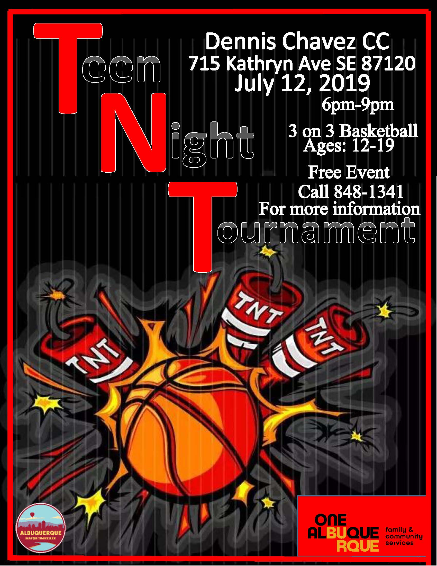 Teen Nights 2019 Basket Ball Tournaments Flyer