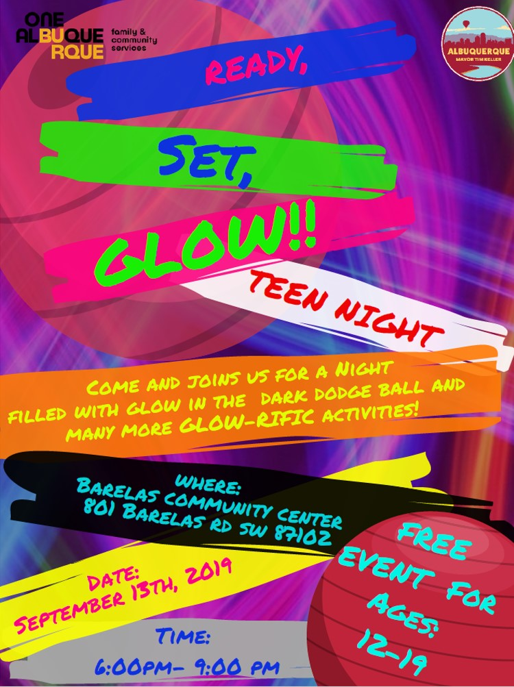 Teen Nights 2019 Glow Night Flyer