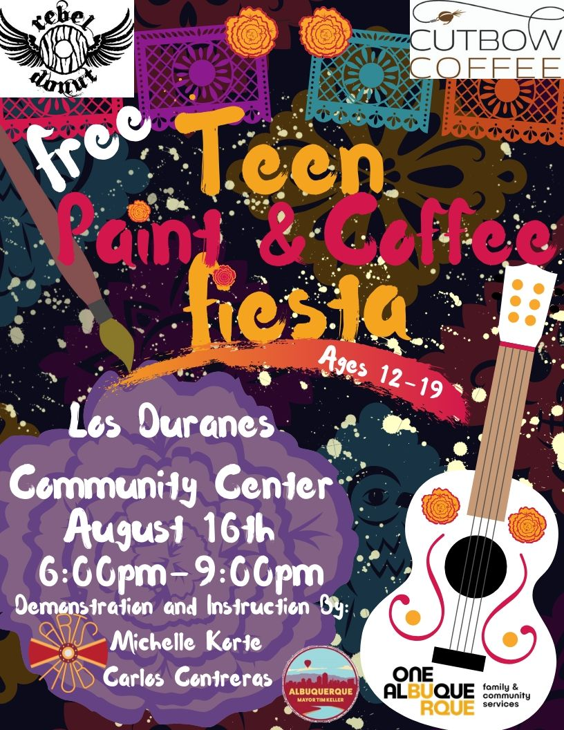 Teen Nights 2019 Paint and Coffee Fiesta Flyer