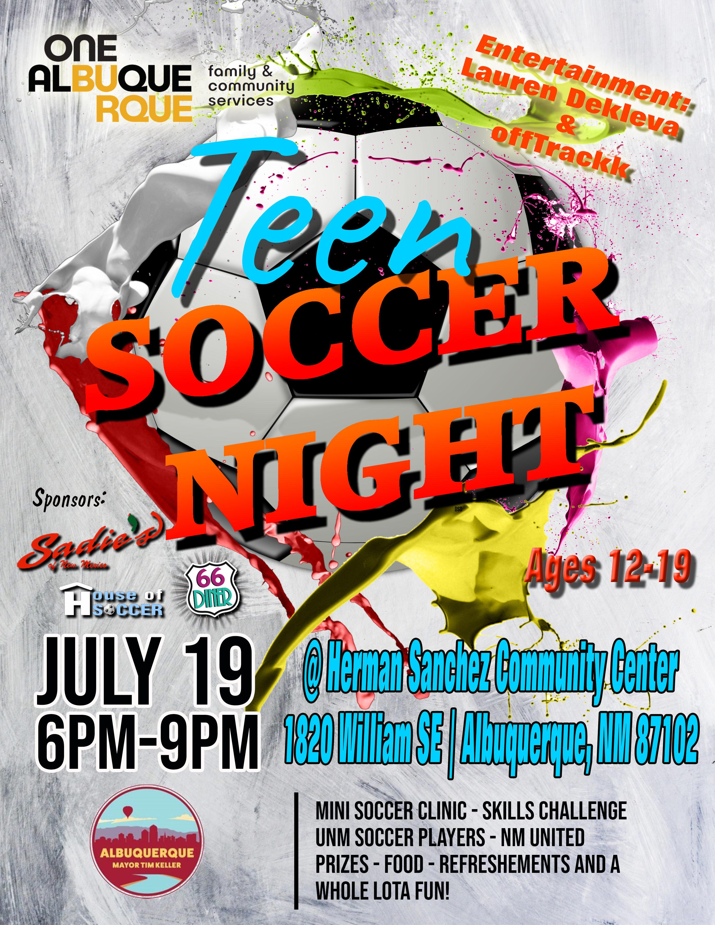 Teen Soccer Night Flier