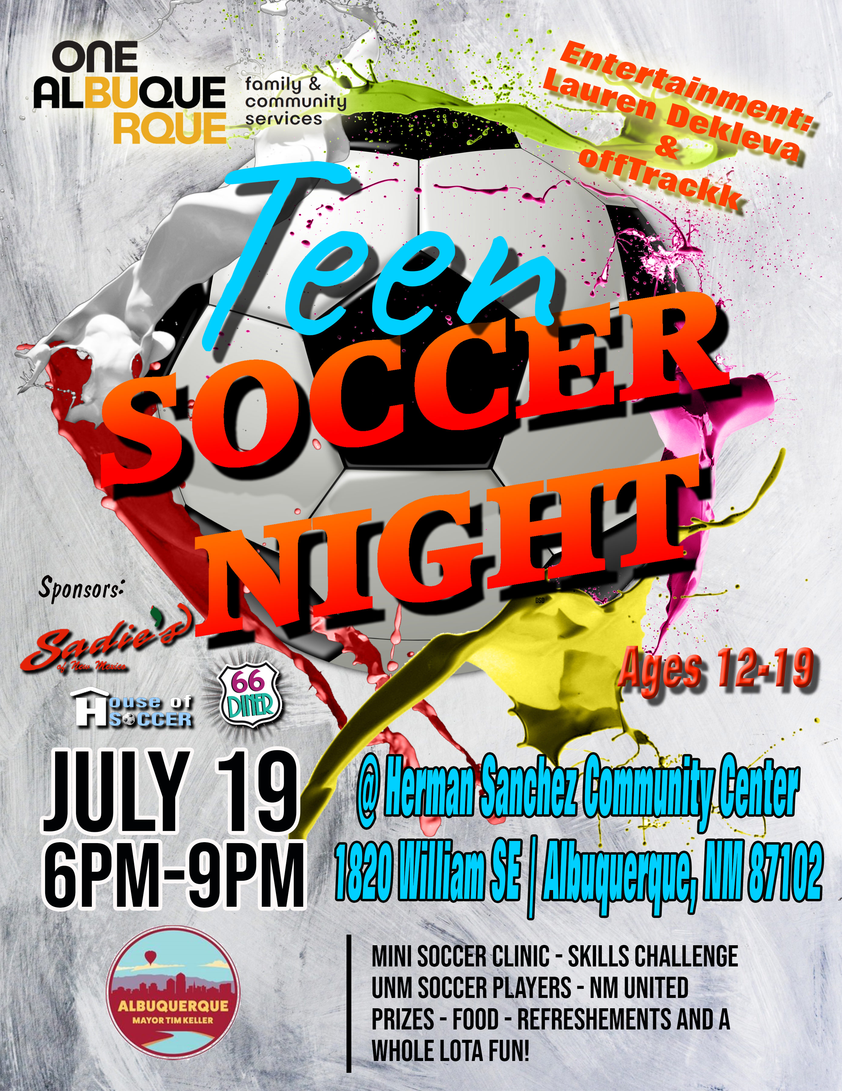 Teen Nights 2019 Soccer Camp Flyer