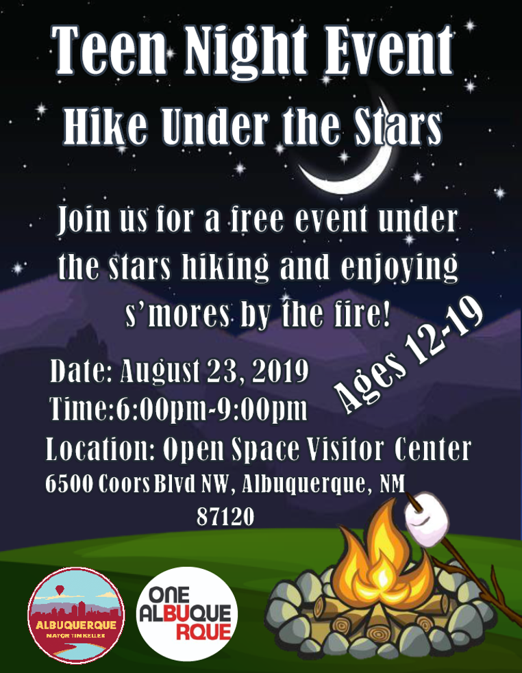Teen Night Event! Hike Under the Stars. Join us for a free event under the stars hiking and enjoying s'mores by the fire!