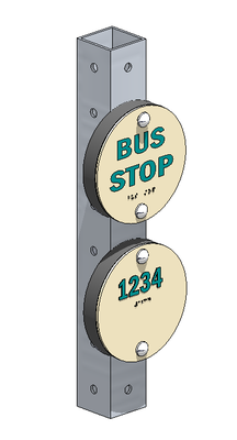 Illustration of a bus number puck.