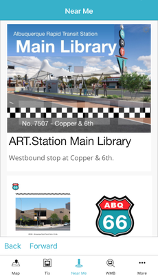 A screenshot of the ABQRIDE+ Near Me tab.