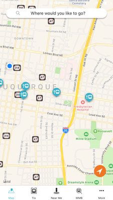A view of the ABQ RIDE Plus App Map Screen.