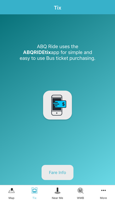 A screenshot of the ABQRIDE+ Tix Screen.