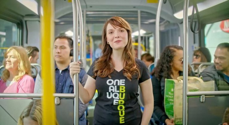 Passengers aboard the Rapid Transit bus.
