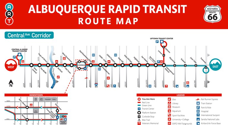 Service Map for the Albuquerque Rapid Transit.