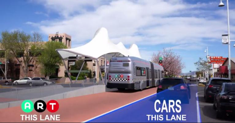 Graphic demonstrating dedicated travel lane for ART buses.
