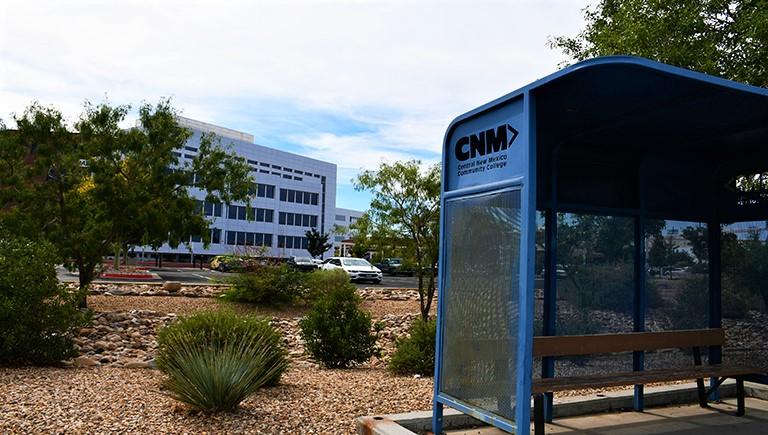 An Albuquerque Transit bus stop near the CNM Campus.