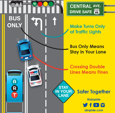 Make Turns Only at Traffic Lights. Bus Only Means Stay in Your Lane. Crossing Double Lines Means Fines.