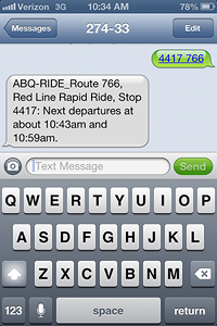 caption:An image of a Text2Ride text message and response.