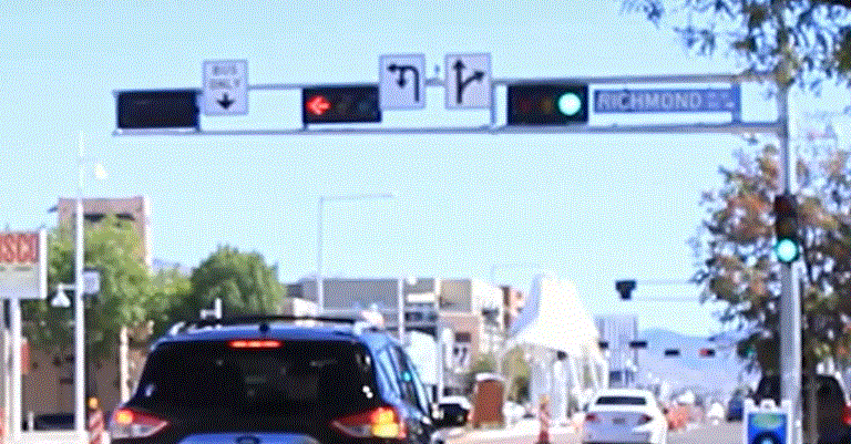 Traffic Signal Prioritization Signage on Albuquerque Rapid Transit.