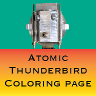 Button Atomic Thunderbird Coloring Page