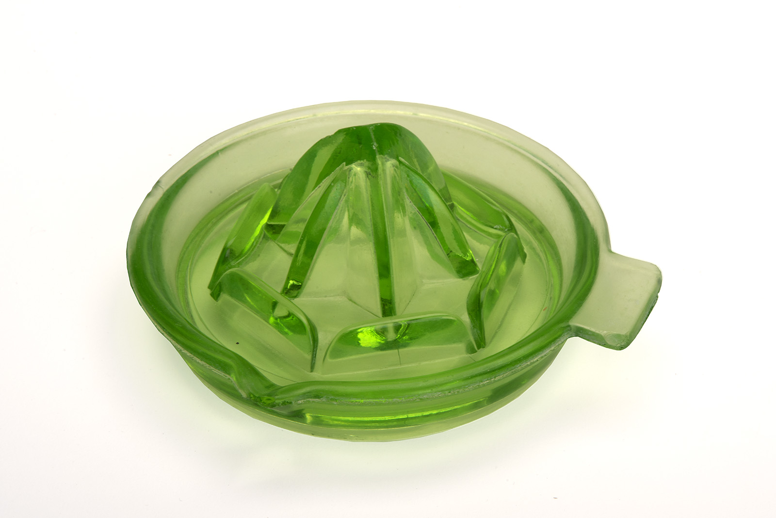 Orange juice squeezer, uranium glass (Vaseline glass)