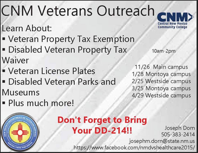 CNM Montoya Campus Veterans Outreach