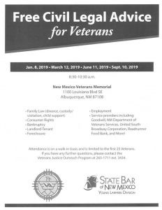 Free Legal Advice for Veterans from the VA and the State Bar of New Mexico