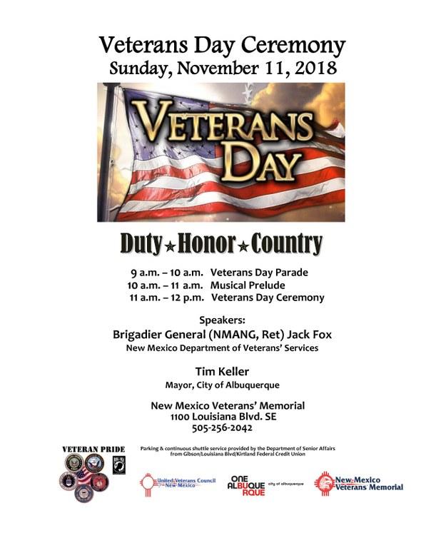 The Program of the 2018 Veterans Day Celebration
