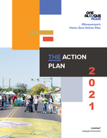 """The cover of the City of Albuquerque Vision Zero Action Plan. There is a photo of people walking in a street decorated for ABQ CiQlovia in the bottom left corner, with colored blocks around it and the title: """"The Action Plan 2021""""."""
