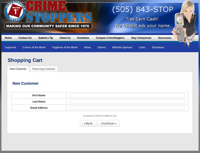 Crimestoppers Donation Screen Shot