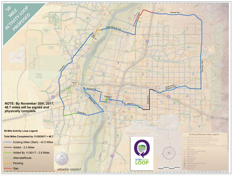 Proposed 50 Mile Activity Loop Map with Stage Numbers - Large