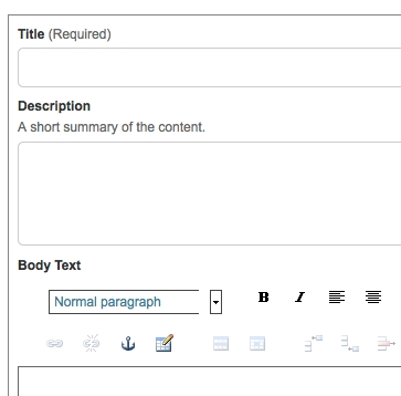 Screenshot of Title, Description, and Body Text fields when creating a new page.