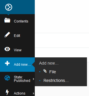 A screenshot of the add new file user interface in plone 5.