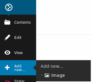 Screen shot of selecting an image from the Add New... menu.