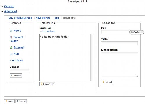 Screenshot of the Dialog Box to link to a document.