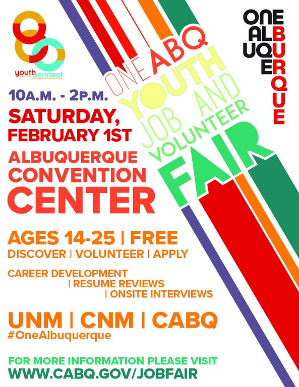 2020 One ABQ Youth Job & Volunteer Fair Flier